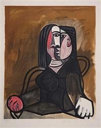 femme assise dans un fauteuil by marina picasso