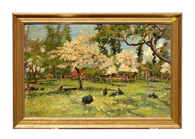 turkeys in a spring grove by auguste durst