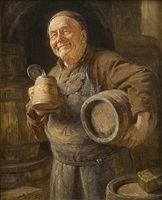 the satisfied winemaker by eduard von grützner