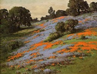california landscape with poppies and lupine by william franklin jackson