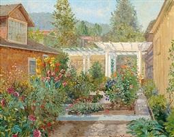 artist's studio, saratoga garden by theodore wores