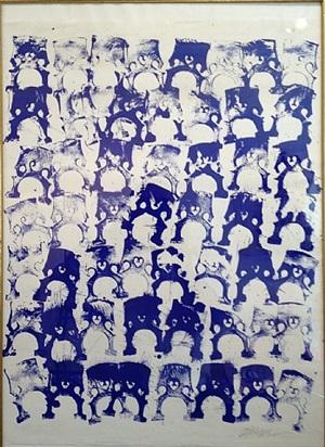 sans titre (tampons bleus) by arman