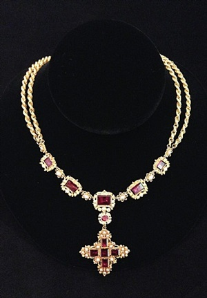 pink tourmaline and pearl cannetille necklace