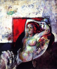 nude with red background by arthur beecher carles