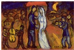 les mariés sous le baldaquin by marc chagall