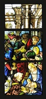 stained glass window of the adoration of the magi by jean chastellain