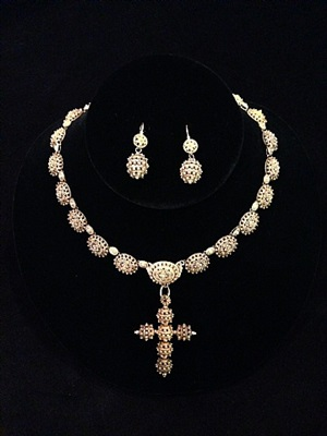 early nineteenth century cannetile cross necklace with earring from house of bourbon, isabella ii period