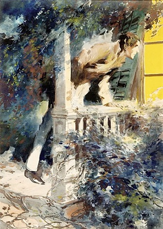 original illustration man on porch by everett shinn