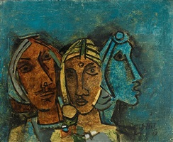 untitled (three heads - rajasthan) by maqbool fida husain