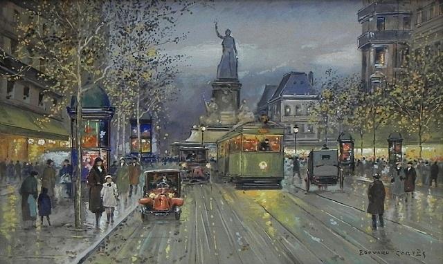 paris street scene by edouard léon cortès