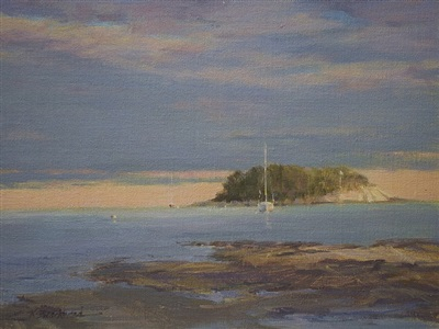 tuxis island, early evening (sold) by karen blackwood