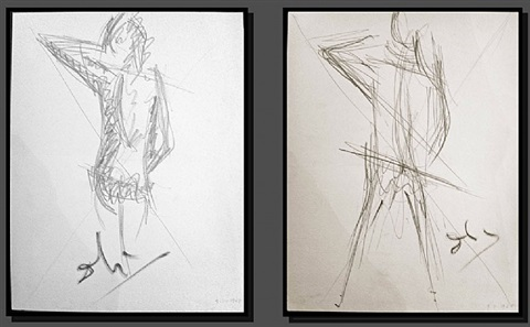 pair of drawings on paper by salvador dalí