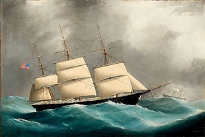 ship byzantium in heavy seas by frederick tudgay