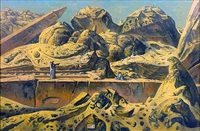 aswan landscape with two obelisks by eugene berman