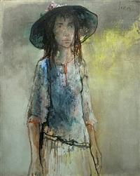 jeune fille au chapeau by jean jansem
