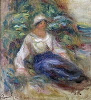 seated girl by pierre-auguste renoir