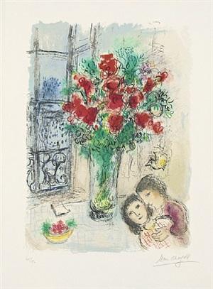 les fleurs rouges (die roten blumen) by marc chagall