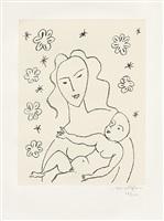 vierge et enfant sur fond de fleurs et d'étoiles (jungfrau und kind vor blumen- und sternengrund) by henri matisse