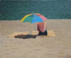 woman, umbrella, beach mat #153 by mary robertson