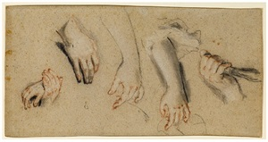 a sheet of studies of hands and arms by nicolas de largillière