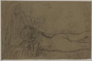 femme nue allongé by pierre bonnard