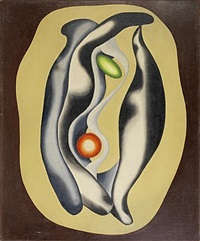 egg and sphere on brown by asger jorn