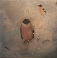 male and female bullfinch by mary newcomb