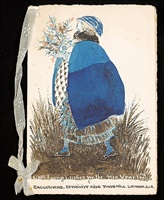 girl with a blue coat: new year's greeting card by annie french