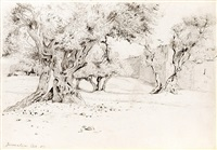 trees and a wall in jerusalem by edwin lord weeks