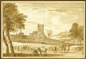 landscape with harvesters, a castle beyond by marco ricci