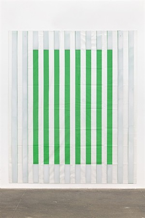 paint on/under plexiglas on serigraphy, framing no. 1 green, situated work by daniel buren