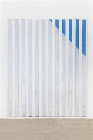 paint on/under plexiglas on serigraphy, right corner up out, no. 2 blue, situated work by daniel buren