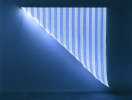 optical fiber, white and blue triangle, situated work by daniel buren