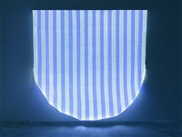 optical fiber, white and blue half circle, situated work by daniel buren