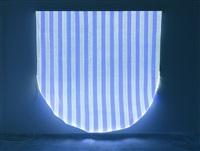 optical fiber, white and blue half circle, situated work by daniel buren
