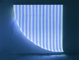 optical fiber, white and blue arch, situated work by daniel buren