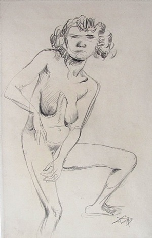 nude (young woman standing) by otto dix