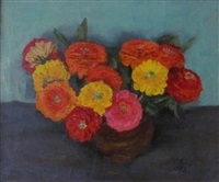 zinnias in a brown crock by walt kuhn