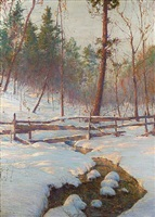 brook and fence by walter launt palmer