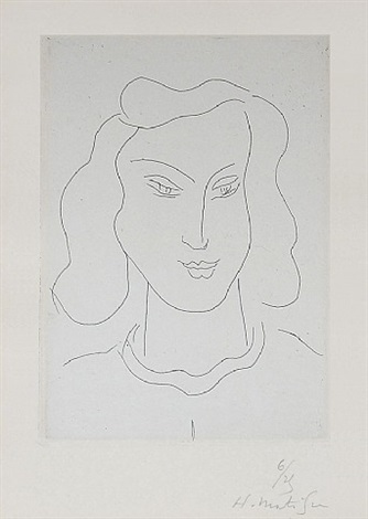 visage aux yeux fixés vers le sol (face with eyes fixed on the ground) by henri matisse
