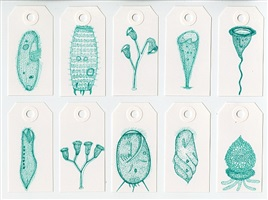 protozoa: 10 drawings on large tags - green by denise tassin