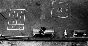 untitled (bench and games viewed from above) by lou bernstein