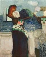 deux femmes devant le port by jean-pierre cassigneul