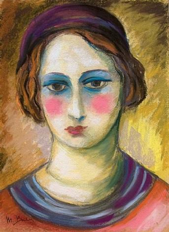 jeune femme au beret mauve by madeleine berly de vlaminck