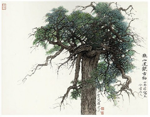 the ancient cypress at the taoist temple of weishan by luo jianwu