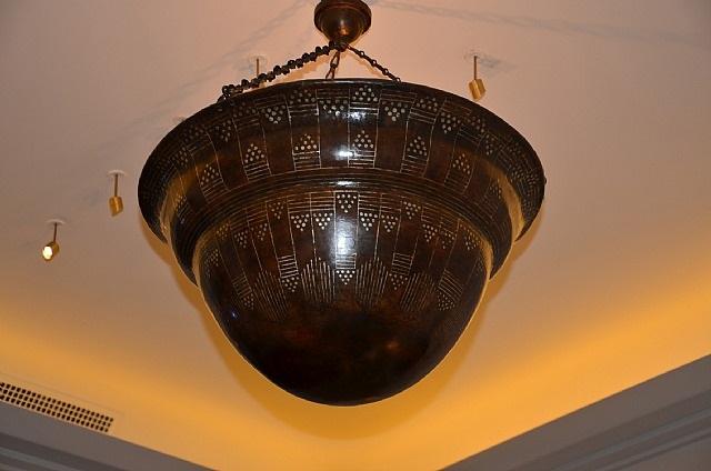 suspension en dinanderie à patine brune à important décor géométrique argent by jean dunand