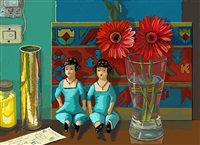dos muñecas y dos flores (two dolls and two flowers) by elena climent