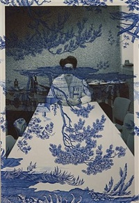 marina abramovic, backstage table, antwerp, black and white (on blue mythical toile) by tim hailand