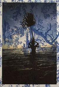 arnaud cizergues and damien jalet, gulf of mexico, sunset (on blue mythical toile) by tim hailand