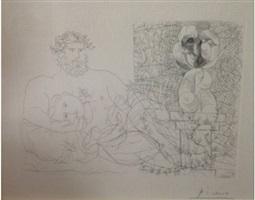 le repos du sculpteur et la sculpture surr by pablo picasso